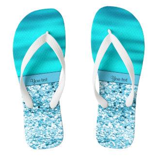 Blue Waves & Glitter Flip Flops