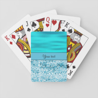 Blue Waves & Glitter Playing Cards