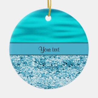 Blue Waves & Glitter Round Ceramic Ornament
