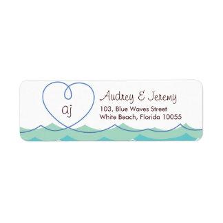 Blue Waves Loopy Heart Beach Wedding Address Label