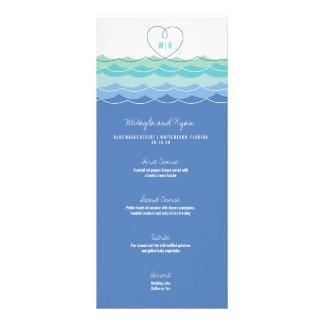 Blue Waves Loopy Heart Beach Wedding Menu Card