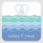 Blue Waves Loopy Heart Thank You Gift Sticker