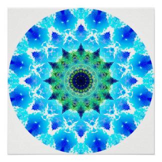 Blue Waves Mandala Perfect Poster