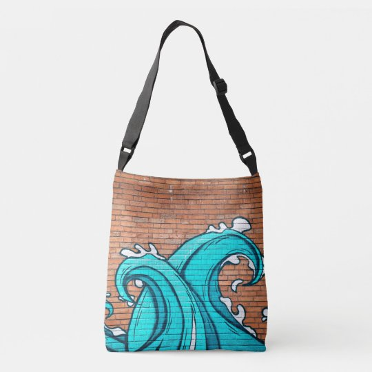 Blue Waves Mural Wall Graffiti Street Art Crossbody Bag