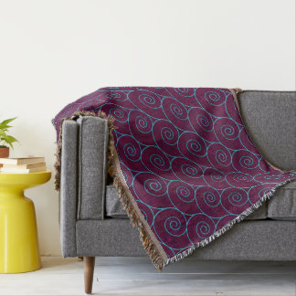 Blue Waves on Purple Throw Blanket