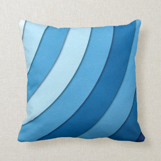 Blue Waves Pastel Stripes Pattern Throw Pillow