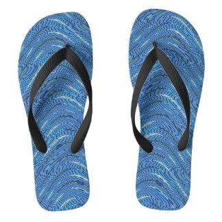 Blue Waves Pattern Flip Flops