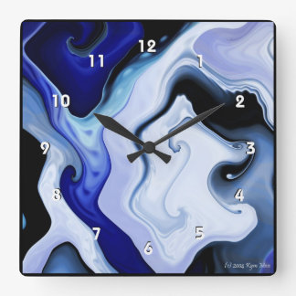 Blue Waves Square Clock