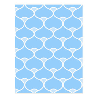 Blue Wavy Geometric Pattern Postcard