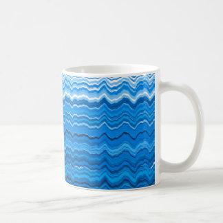 Blue wavy lines pattern coffee mug