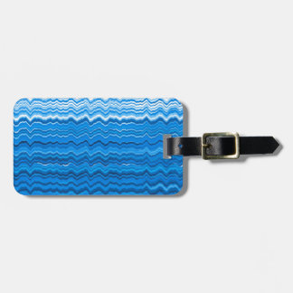 Blue wavy lines pattern luggage tag