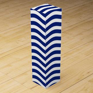 Blue Wavy Stripes Nautical Pattern Cool Effect! Wine Bottle Box