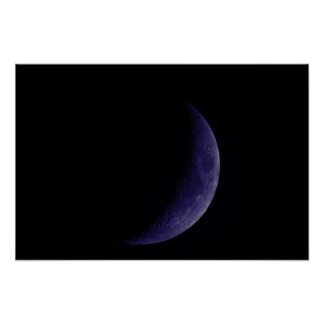 Blue Waxing Crescent Moon Poster