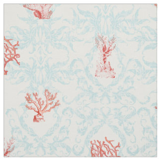 Blue Weathered Vintage Beach Ocean Coral Damask Fabric