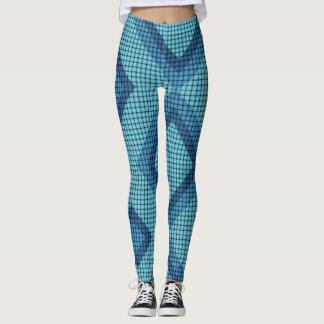 Blue Weave and Diamond Pattern Leggings
