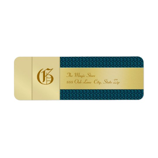Blue Weave Monogram  Business Address Label