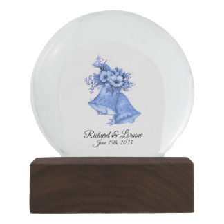 Blue Wedding Bells Names and Date Snow Globe
