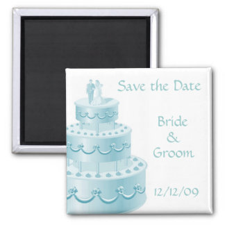 Blue Wedding Cake Save the Date Magnets
