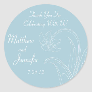 Blue Wedding Favor Labels with Custom Text