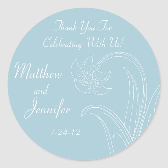 Blue Wedding Favour Labels with Custom Text