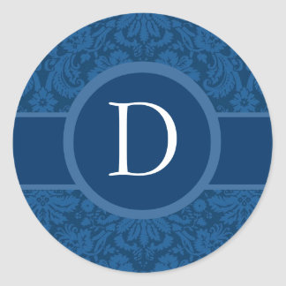 Blue Wedding Monogram B  or Any Letter G404A Classic Round Sticker