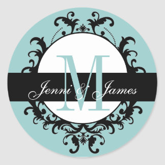 Blue Wedding Monogram Names Ornate Label