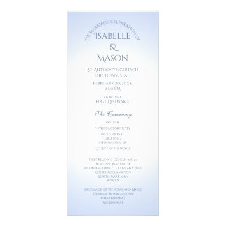 Blue Wedding Program Custom Rack Card