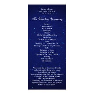 Blue wedding program. Navy night winter ceremony Rack Card