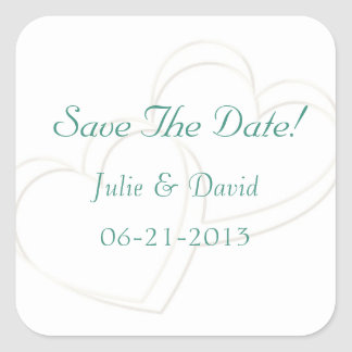 Blue Wedding Save The Date Square Sticker