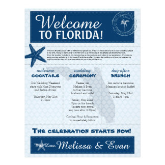 Blue Wedding Starfish Welcome Letter for Florida Letterhead Template