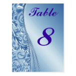 Blue Wedding Table Cards numbers Postcard