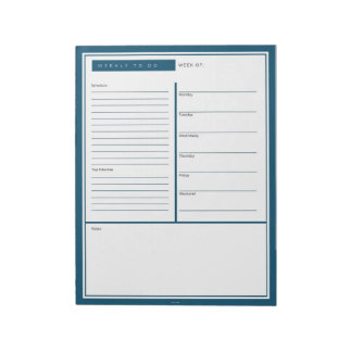 Blue Weekly To Do List Notepad