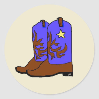 Blue Western Boots Classic Round Sticker