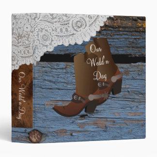 Blue Western Cowboy Lace Wedding Vinyl Binder
