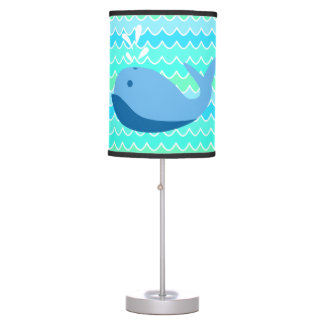 Blue Whale and Waves Table Lamp