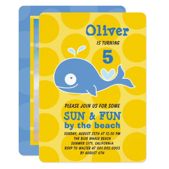 Blue Whale Beach Party Photo Boy's Birthday Invite