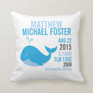 Blue Whale Birth Announcement Nursery Pillow