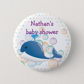 Blue whale button, baby shower button