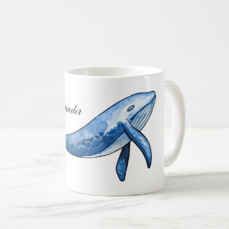 Blue whale. Nautical fish cup. Sea gift. Ocean Coffee Mug
