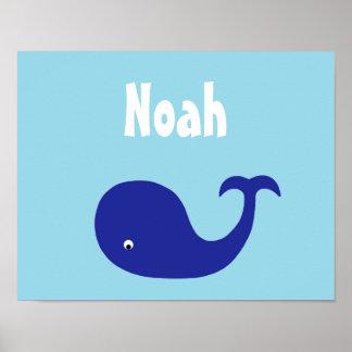 Blue whale nursery art poster