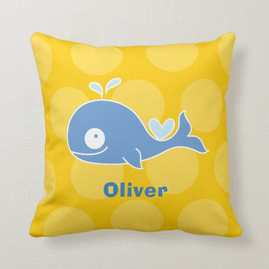 Blue Whale Nursery Decor Kid's Custom Name Cushion