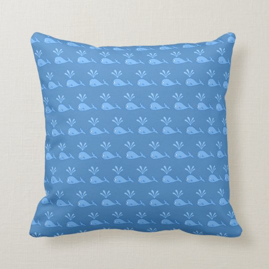 Blue Whale Pattern. Throw Pillow