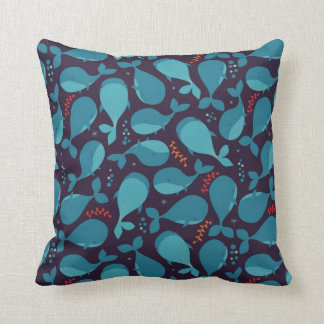 Blue Whale Pattern Throw Pillow