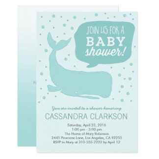 Blue Whale Stylish Baby Shower Invitations