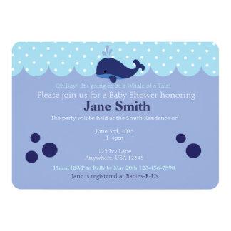 "Blue Whale Themed Baby Boy Shower Invitatio 5"" X 7"" Invitation Card"