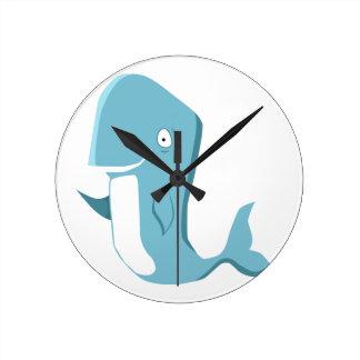 blue whale wall clocks