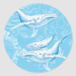 Blue Whales Family Classic Round Sticker