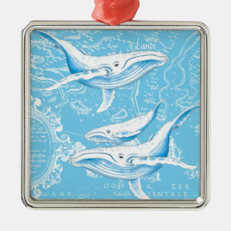 Blue Whales Family Metal Ornament