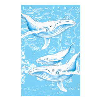 Blue Whales Family Stationery