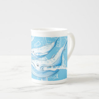 Blue Whales Family Tea Cup